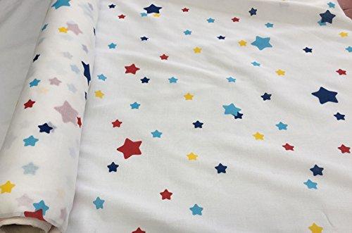 Stella stampa voile tulle organza etamin kids–tende in tessuto rosso blu stars–290cm extra largo (prezzo al metro)