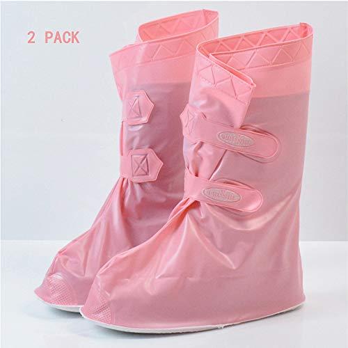 SRXGM Mode Wasserdichte Schuhe deckt Regen Schneeschuhe Wiederverwendbare Klettverschluss Rutschfeste Faltbare verdicken Sohle Überschuhe Galoschen für Frauen Männer (2 Pack),Pink2,XXL
