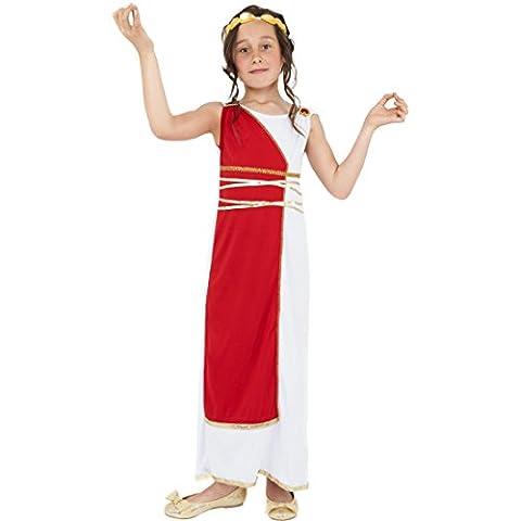 Griechische Göttin Robe Mädchen Kostüm Antike M 7-9 Jahre 128-140 cm Römerin Verkleidung Griechin Kinderkostüm Outfit Sparta Kleid mit Kopfschmuck Karnevalskostüm (Griechische Göttin Kopfschmuck Kostüm)