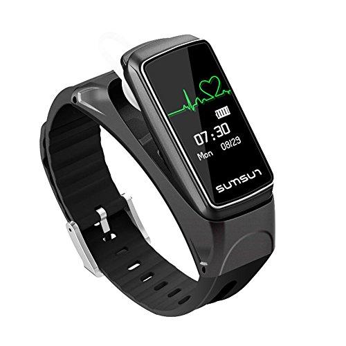 TLfyajJ Kopfhörer Smart Armband Pulsmesser Wecker Sport Bluetooth Datum Musik/3D Stereo Sound, Ergonomisches Design Schwarz