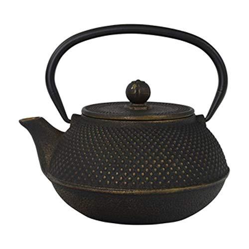 Tealøv Arare TEEKANNE/TETSUBIN 800 ml aus GUSSEISEN - Exklusive Teebereiter mit Edelstahl-Sieb - Innen komplett emailliert - Für den perfekten Aufguss - Noppenstruktur im japanischen Stil (Gold)