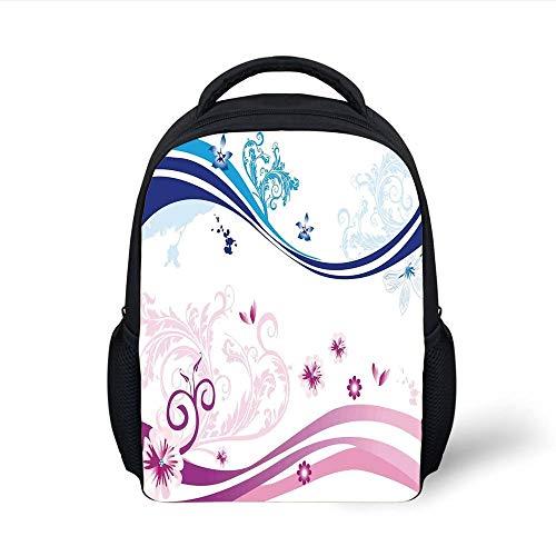 Kids School Backpack Floral,Modern Digital Swirls Ivy Flowers Leaves and White Backdrop Image,Dark Blue Aqua Pink and Lilac Plain Bookbag Travel Daypack - Aqua Flower Girl