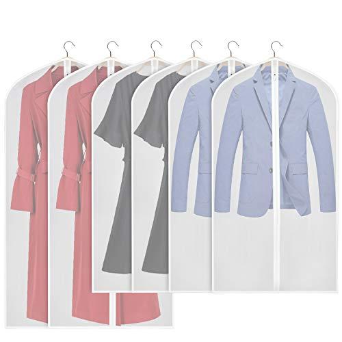 Univivi Kleidersack 152,4 cm Anzug Tasche für Lagerung (klar), Waschbar 6 Stück Leicht Kleidersack für Lange Kleid Dance Kostüme Passt Kleider Mäntel (60 cm X 121 cm X 127 cm)