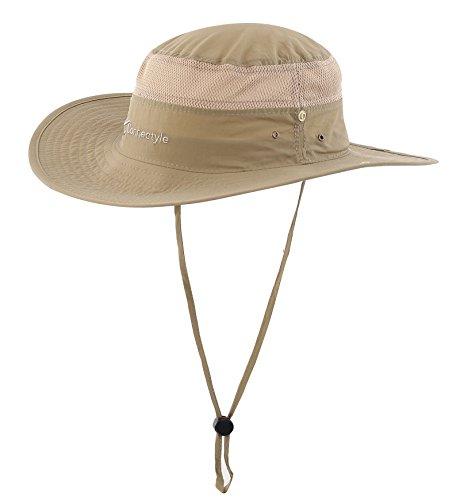 Decentron Unisex Herren Outdoor Maschenweite UV Sonnenhut Camouflage Boonie-Hüten Eimer hut Fischen Hüte mit Bindfaden Dunkel khaki