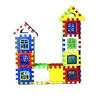24pcs/lot Interlocking Building Blocks Plastic House Blocks DIY Playset Toy for Children Enlightenment Educational Toy&(Color:Multicolor)