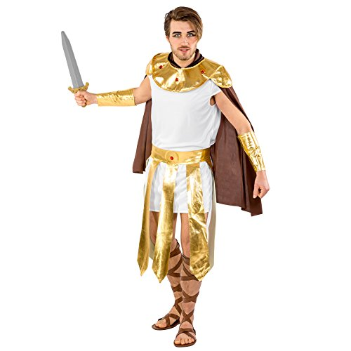 Cape Kostüm Spartaner 300 (Herrenkostüm mächtiger Gladiator | Gewand mit edlem Cape | goldener Kragen | goldene Armstulpen & Bindegürtel (XXL | Nr.)