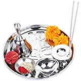 """Homeish 8"""" Double Walled Stainless Steel Pooja Thali Gift Set For All Occassions/Festivals - Ganesha (Set Of 5 Pcs)"""