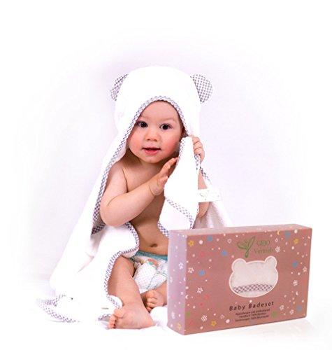 Premium Kapuzenhandtuch Baby/Babyhandtuch 100x70 cm – inkl. GRATIS Waschlappen -GEJO Baby...