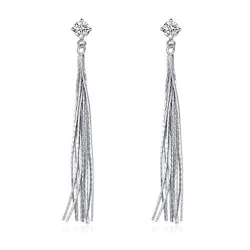 Quaste baumeln Ohrringe 925 Sterling Silber Zirkonia lange Ohrringe für Frauen Mädchen (Elegant)