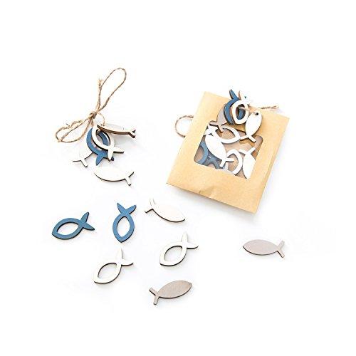 z FISCHE STREU-DEKO (3,5 cm) in blau beige weiß Mini-Fische als maritime Dekoration … Tisch-Streu Streuteile Zierdeko Zierstreu Mini-Teile Streu-Artikel Deko-Teile Miniaturen (Nautische Hochzeit Einladungen)