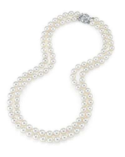 """14K Gold 9-10mm Double Strand White Freshwater Cultured Pearl Necklace - AAAA Quality, 16-17"""" Length"""
