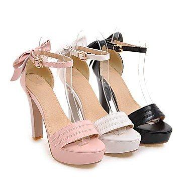 LvYuan Da donna Sandali Comoda Cinturino alla caviglia Di pelle Estate Formale Comoda Cinturino alla caviglia Fiocco Quadrato Bianco Nero Rosa10 blushing pink