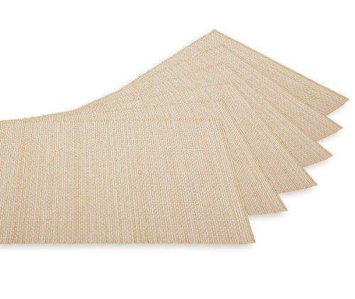 Aricola Tischmattenset, Platzmattenset 6-teilig Bambus hell. Gedeckunterlagen für den Speisetisch je 30 x 43cm.