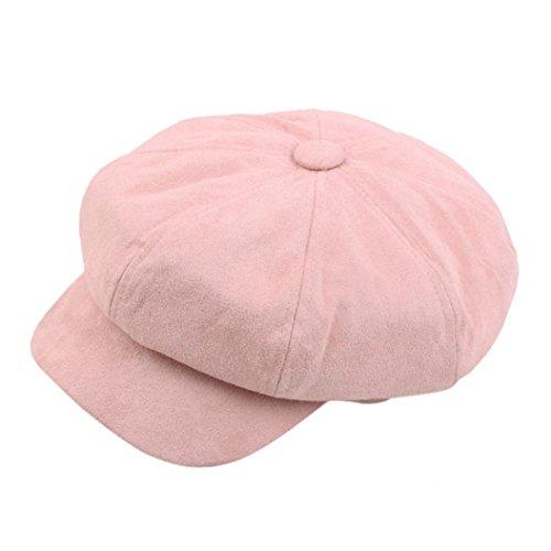 Achteckiger Hut Damen Winter Warmer Berets Hut Schirmmütze Barett Maler Mütze (1PC, Rosa) (Rosa Newsboy Hut)