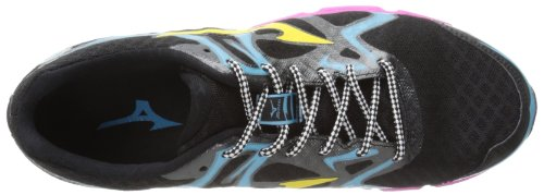 Mizuno Wave Hitogami Synthétique Chaussure de Course Black-Yellow-Blue