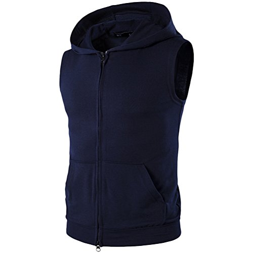 Zhuhaitf weich Men's High Quality Sleeveless Hooded T-Shirt Workout Training Dark Blue