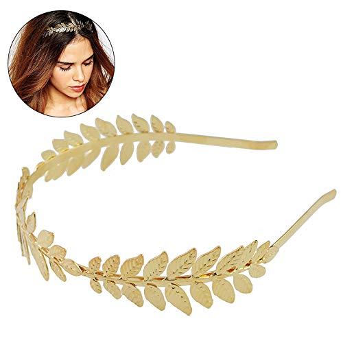Surenhap elegant Römische Göttin Blättern Krone vintage Boho Haarreif Braut Haar Krone (Gold)