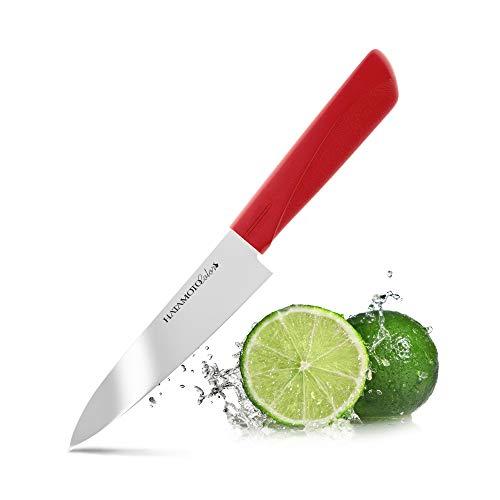 HATAMOTO Küchenmesser der Spitzenklasse - Fleischmesser mit Langer Klinge - Ideale Kochmesser, Sushi Messer oder Chefmesser - Messer aus Edelstahl, 12cm Rot