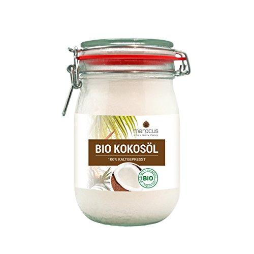 meracus Bio Kokosöl, nativ im Bügelglas, 1er Pack (1 x 1 l) (Kokosnuss-öl 1 Liter)