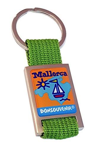 LLAVERO MALLORCA DONSOUVENIR. (VERDE CORREA)