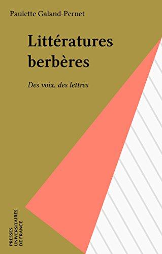 Littératures berbères: Des voix, des lettres