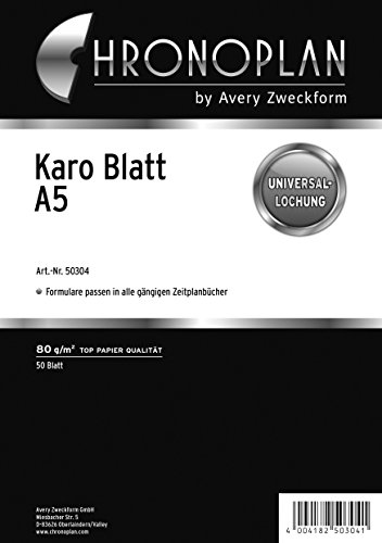 Chronoplan 50304 Formulare Karierte Blätter A5, 50 Blatt, weiß