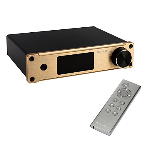 SMSL Q5 Pro - Equipo estéreo digital de alta fidelidad, con conexión coaxial, amplificador reforzado, entrada para auriculares, mando a distancia y sistema de alimentación de 19 V (color dorado)