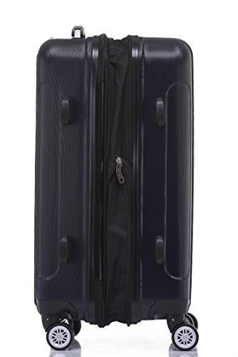 BEIBYE TSA Schloß, Zwillingsrollen, Dehnungsfuge, Hartschale Trolley Koffer Kofferset Reisekoffer Gepäckset (Dunkelblau) - 3