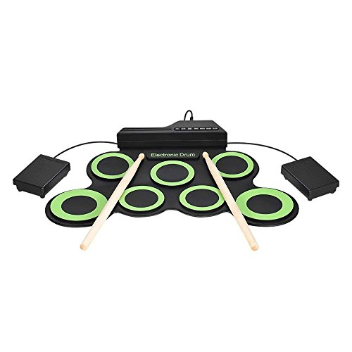 Price comparison product image MIRUO Digital Electronic Drum Kit - 7 Pads Portable Electronic Roll up Drum Foldable Practice Instrument Built-in Speakers&Foot Pedals&Drum Sticks for Kids, Beginner