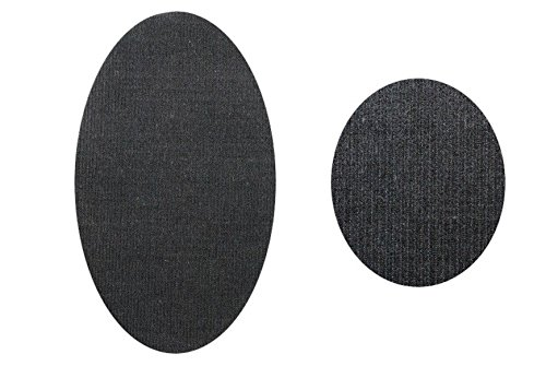 alles-meine.de GmbH ovaler Flicken - dunkel grau Cord 9,5 cm * 16 cm Bügelbild Aufnäher Applikation Cordflicken Stoff - Grau Cord