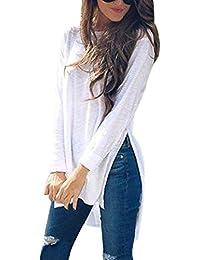 Blanco Amazon Larga Camisetas Blusas Manga De Asimetricas Sxfpxg