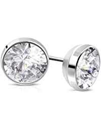 1bf64fba7 Via Mazzini Stainless Steel 2.5mm Circle Crystal Stud Earrings For Men And  Women (ER1176