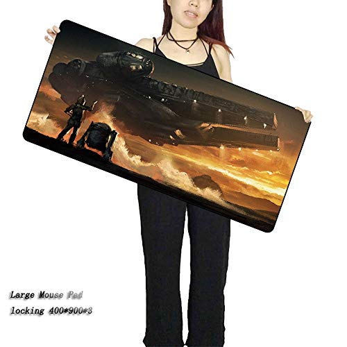 KIJNF Mausmatte Große Gaming Star War Mauspad Verriegelungskante Für Laptop Pc Film Mousepad Matte, 400X900X3Mm