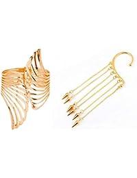 Shopping World Caratcube Elegant Golden Non Piercing Single Piece Ear Cuff & Design Hand Cuff Bracelet For Enhancing...