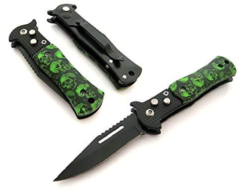 KOSxBO® Trainingsmesser Taschenmesser Länge 15,5 cm Zombie Messer Edition grün schwarz Klappmesser Einhandmesser Outdoor Messer Freizeitmesser Campingmesser Knife (Zombie Schwerter Und Messer)