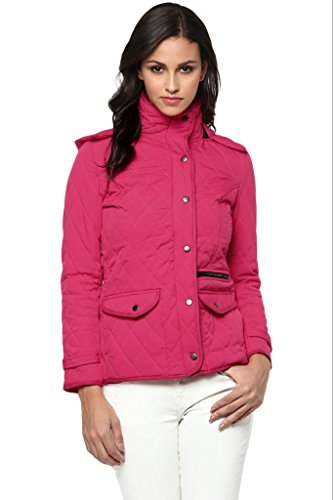 Solid Fuchsia Quilted Hooded Jacket