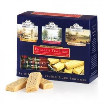 Ahmad Tea English Tea Time Collection of 3 Black Teas & Scottish Shortbread - 30 Teabags