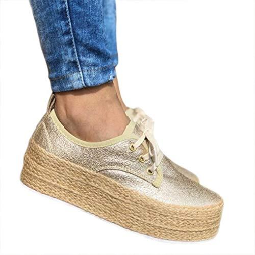 Sneaker Damen Plateau Espandrillos Mit Keilabsatz Sneaker Wedge 4cm Flache Atmungsaktiv Freizeit Schuhe Gold 36 -