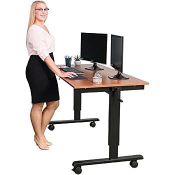 Crank Adjustable Height Sit To Stand Up Desk Black Frame