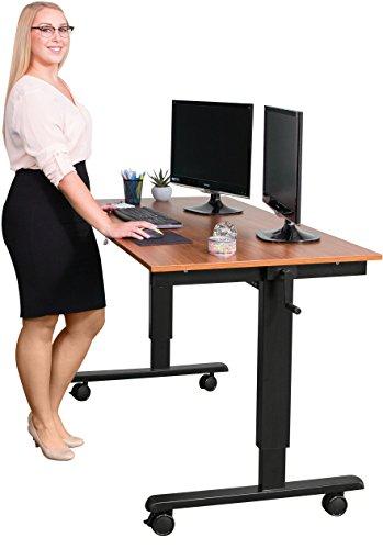 Kurbelverstellbarer Sitz-Stehtisch - Wohnung Schreibtisch (Rahmen schwarz / Teakholz, Schreibtisch...