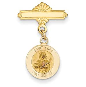 14k Gelb Gold Saint Lucy Medaille PIN