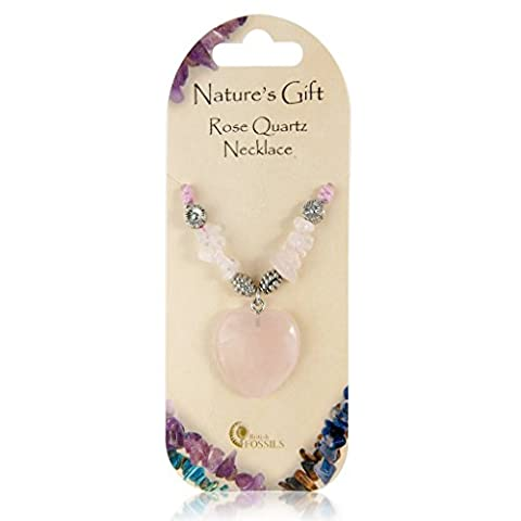 British Fossils Natures Gift Rose Quartz Crystal Heart Necklace - Quarzo Rosa Cuore