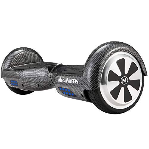 """M MEGAWHEELS 6.5"""" Smart Self Balance 500W Motore Scooter con LED,Bluetooth Altoparlante (Nero di Carbonio)"""