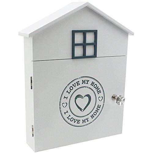 Com-Four caja de llaves Madera Llave «I love my home» con 6ganchos y cierre magnético en la puerta