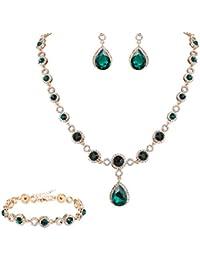1Set Vergoldet Schmuckset Halskette Ohrringe Perlen Kleeblatt 46cm Mode Neu FL
