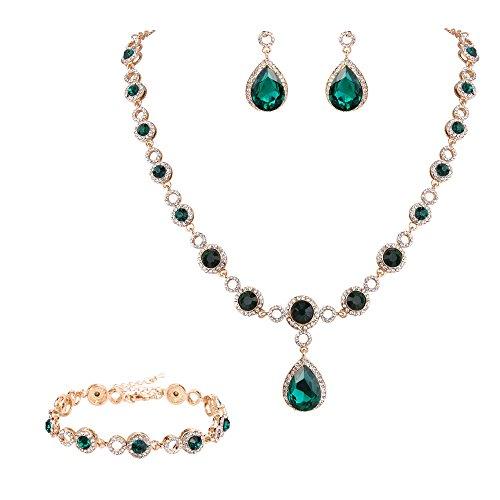 Hochzeit Braut Rund Tropfen Kristall Anhänger Halskette Dangle Ohrringe Amrkette Schmuck Set Gold-Ton Grün ()