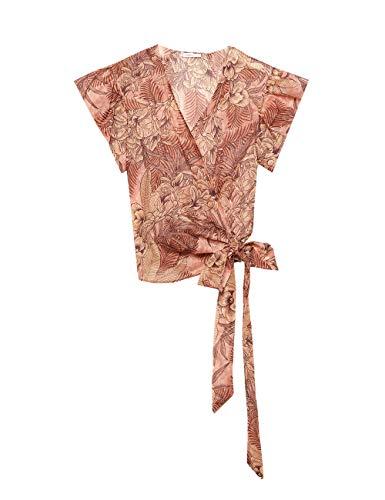 Motivi : Wickelbluse mit Blumenmuster Rosa 46 (Italian Size) Taille Blouson