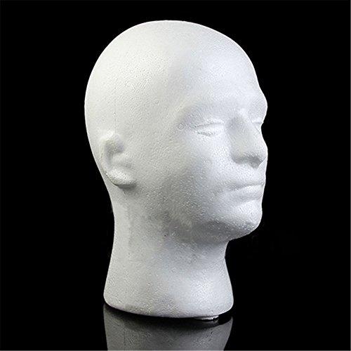 (quanjucheer männliche Schaufensterpuppe Schaumstoff Head Modell Perücke Gläser Hat Display Ständer)