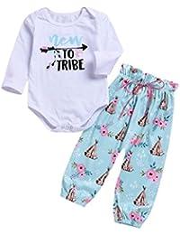 YOYOGO ��Ropa para NiñOs de 5 AñOs, Romper Bodies para BebéS NiñA,2 Piezas Carta Impresión Mangas largas Pantalones Equipar(6-24M)