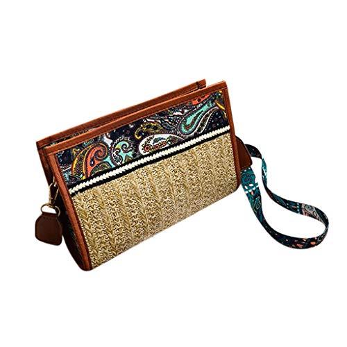 Mitlfuny handbemalte Ledertasche, Schultertasche, Geschenk, Handgefertigte Tasche,Art- und Weisedame Retro Ethnic Wind Straw Beach Wilde Umhängetasche Kuriertasche